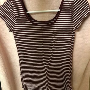GAP maroon and white striped shirt